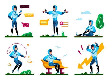 Healthy Lifestyle for Physical and Psychological Well-Being Trendy Flat Vector Concepts Set. Young Man Messaging with Cellphone, Doing Fitness Exercises Outdoor, Angry Because Problem Illustrations