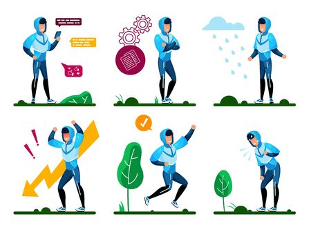 Young Man Lifestyle, Daily Routine Trendy Flat Vector Concepts Set. Man in Sportswear, Chatting in Online, Pondering Decision, Happy with Achievement, Tired and Stressed Because Problems Illustrations