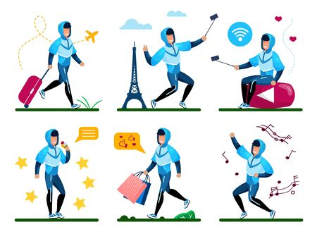 Young Man Life Entertainments and Activities Trendy Flat Vector Concepts Set. Guy Traveling with Airlines, Making Selfie in Foreign Country, Recording Mobile Videos, Enjoying Shopping Illustration