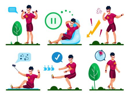 Young Sportsman, Male Athlete Hawing Workout with Dumbbells, Doing Fitness Exercises Outdoors, Tired After Training, Relaxing in Chair, Shooting Selfie Trendy Flat Vector Character Illustrations Set