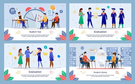 College Students Testing, University Graduation Ceremony, Campus Library Services Trendy Flat Vector Banners, Posters Set. Students Taking Exams, Getting Diploma, Studying in Library Illustration