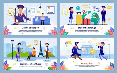 Modern Student Education Opportunities Trendy Flat Vector Banners, Posters Templates Set. College Students Traveling World with Exchange Program, Studying Online, Celebrating Graduation Illustration