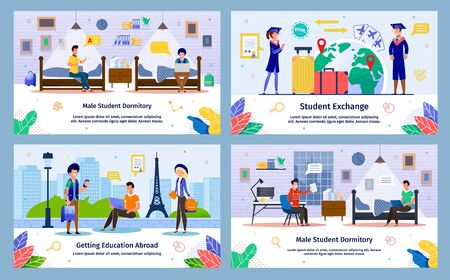 Student Exchange, Abroad Education in College, Male Student Dormitory Trendy Flat Vector Banner, Poster Templates Set. Students Traveling in Foreign Country for Education, Resting in Dorm Illustration
