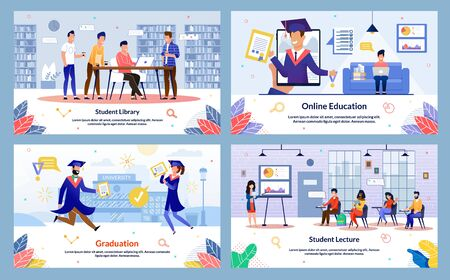 Modern College, University Students Activities and Routine Trendy Flat Vector Banners, Posters Set. Students Learning in Library, Studying Online, Visiting Lecture, Happy with Graduation Illustration
