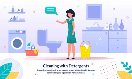 Detergents for Home Bathroom Cleaning Trendy Vector Advertising Banner, Promo Poster Template. Happy Woman, Housewife Standing in Cleaned, Shiny Home Bathroom, Satisfied with Cleaning Illustration