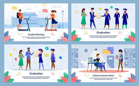 College Student Successful Graduation Celebration, University Education Trendy Flat Vector Banner Templates Set. Female, Male Students Riding Scooter, Getting Diploma, Working in Library Illustration Ilustração