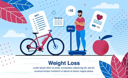 Weight Loss Strategy Planning, Healthy Life Activities Trendy Flat Vector Banner, Poster Template. Obese African-American Man Standing on Scales, Analyzing Weight Loss After Diet, Sports Illustration Illustration