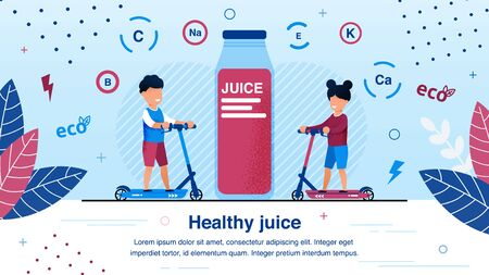 Fresh Organic Juice for Children Healthy Nutrition Trendy Flat Vector Ad Banner, Poster Template. Happy Boy and Girl Riding Scooters, Drinking Natural Juice Rich for Vitamins and Minerals Illustration 版權商用圖片 - 135470031