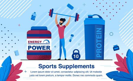 Sports Nutrition Supplements for Energy Revival and Physical Power Growth Trendy Flat Vector Advertising Banner, Poster Template. African-American Man, Male Athlete Puling Barbell in Gym Illustration