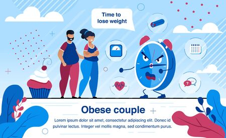 Overweight and Obesity Health Problems Trendy Flat Vector Banner, Poster Template. Obese Couple Suffering from Overweight, Scared of Heart, Vascular Diseases Causes, Wants to Lose Weight Illustration