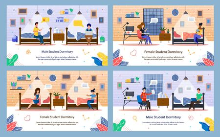 Modern Student Dormitory Life Trendy Flat Vector Banners, Posters Templates Set with Male, Female Students Characters Resting, Learning, Talking with Roommate Friends in Dormitory Room Illustration