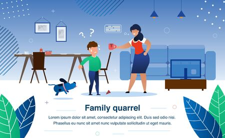Family Quarrel, Parenting and Child Discipline Problems Trendy Flat Vector Banner, Poster Template. Angry Mother Arguing on Worried Son Because or Broken Cup, Boy Shifting Blame on Dog Illustration Illustration