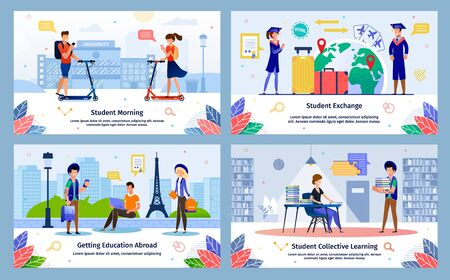Student Morning, Education Abroad Exchange Program, Collective Learning Trendy Flat Vector Banners, Posters Set. Female, Male Students Riding Scooters, Traveling World, Visit Library Illustration