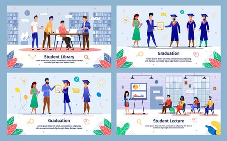 College and University Successful Education, Happy Student Life Trendy Flat Vector Banners Set. Female, Male Students Getting Diploma on Graduation Ceremony, Visiting Lecture and Library Illustration Çizim