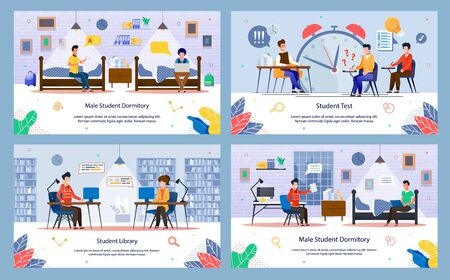 Modern Students Daily Routine and Lifestyle Trendy Flat Vector Banners, Posters Set. Male, Female Students Learning in Library, Writing College Test, Talking with Friend in Dormitory Illustration