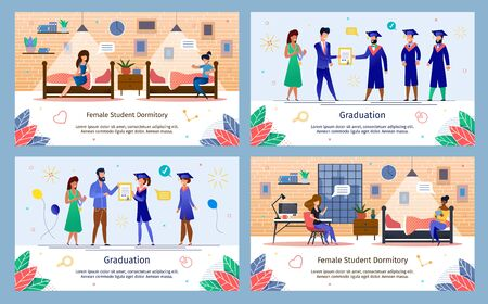 University or College Students Graduation Celebration Ceremony, Female Dormitory Life Trendy Flat Vector Banners Set. Happy Students Getting Diplomas, Talking with Friend in Dorm Room Illustration