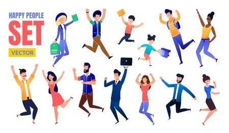 Happy People, Female, Male Adults and Children Trendy Flat Vector Multinational Characters Set. Girl Student, Schoolkids, Businessman, Excited Men and Women Jumping with Raised Hands Illustration