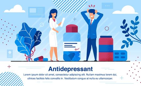 Therapy and Treatment with Antidepressants Pills Trendy Flat Vector Banner, Poster Template. Stressed Businessman Suffering from Depression, Female Doctor Giving Prescription to Patient Illustration
