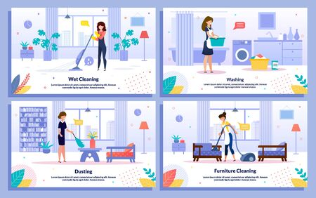 Housekeeping Jobs, Commercial Cleaning Services, Hotel Attendant Work Trendy Flat Vector Ad Banner, Poster Templates Set. Female Employee, Maid Mopping, Vacuuming, Dusting and Washing Illustration