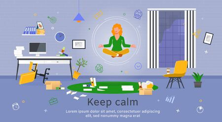 Concentration and Productivity in Office Work Trendy Flat Vector Banner, Poster Template. Businesswoman, Female Employee Flying in Lotus Pose Over Scattered Documents, Messy Workplace Illustration