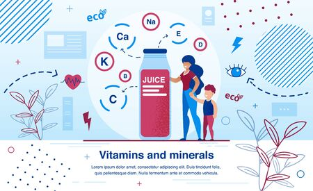Vitamins and Minerals for Children Growth and Development Trendy Flat Vector Banner, Poster Template. Mother Buying Fresh Juice in Glass Bottle, Full of Useful for Sight Heath Vitamins Illustration