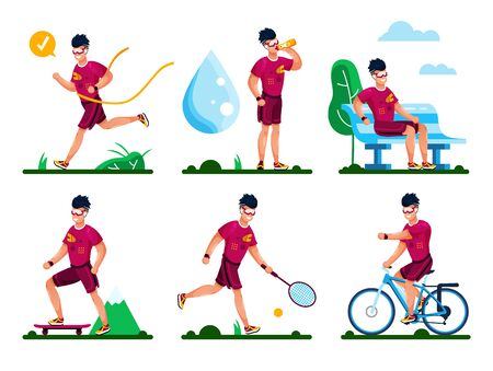 Outdoor Sports, Healthy Lifestyle Activities, Summer Active Recreation Types Trendy Flat Vector Concepts Set. Young Man Character in Sportswear, Jogging, Skating, Biking, Playing Tennis Illustrations