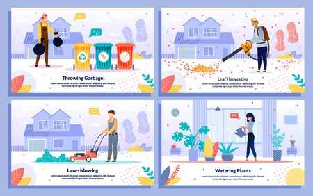 Professional cleaning services, housekeeping jobs trendy flat vector banners, posters set. gardener mowing lawn, worker harvesting leaves, throwing garbage bags, woman watering plants illustration