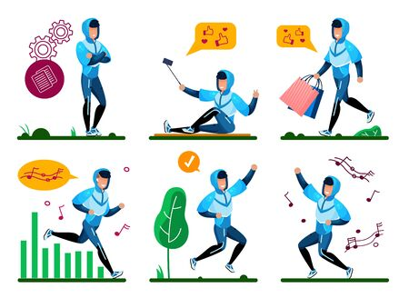 Modern Teenager, Young Man Active Lifestyle Situations Trendy Flat Vectors Set. Guy in Tracksuit Pondering Decision, Going on Shopping, Dancing, Listening Music and Jogging Outdoors Illustrations