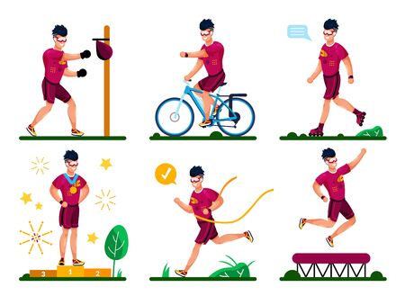 Sports and Fitness Training Types, Outdoor Workout, Healthy Lifestyle Activities Trendy Flat Vector Set. Male Athlete, Sportsman Boxing, Riding Bike, Rolling-Skating, Winning Competition Illustration