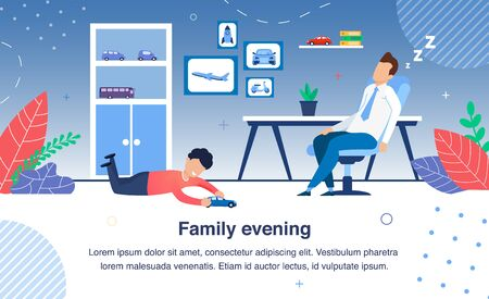 Family Evening Routines Trendy Flat Vector Banner, Poster Template. Tired Father Napping, Sleeping, Resting in Chair After Hard Day on Work, Joyful Son Playing with Toy Car on Floor Illustration Vectores