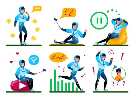 Modern Young Man, Male Teenager Daily Routine Trendy Flat Vector Concept Set. Guy in Tracksuit Listening Music While Jogging, Shooting Mobile Photos and Videos, Relaxing, Talking on Phone Illustration