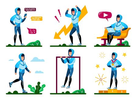 Young Male Student Daily Activities, Sportsman Routines Trendy Flat Vector Concepts Set. Man in Sportswear Messaging with Cellphone, Using Laptop, Training Outdoors, Winning Competition Illustrations Illustration