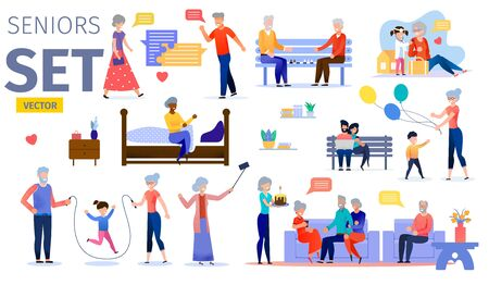 Happy Seniors, Active Aged People Trendy Flat Vector Characters Set. Grandparents Playing with Kids, Talking and Playing Chess with Friends, Celebrating Birthday with Family and Relatives Illustration