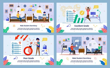Male Student Dormitory, College Exam, University Testing Poor and Excellent Grade Trendy Flat Vector Banners, Posters Set. Students Resting in Dorm Room, Happy or Upset by Exam Results Illustration