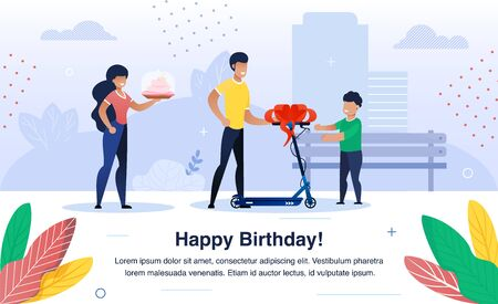 Child Happy Birthday Celebration Trendy Flat Vector Banner, Poster Template. Parents Greeting Preschooler Kid with Birthday, Father Giving Scooter to Son, Mother Holding Holiday Cake Illustration