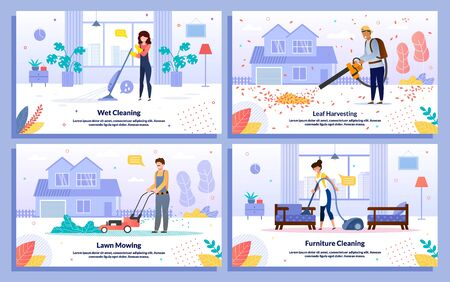 Home Interior, House Yard Cleaning Service Trendy Flat Vector Banners Set. Female, Male Workers Doing Wet Cleaning, Blowing Leaves, Mowing Lawn, Cleaning Furniture with Vacuum Cleaner Illustration