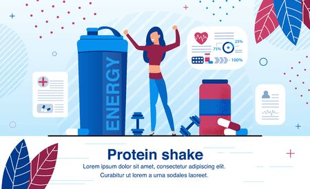 Sport Nutrition Supplements for Energy Revival After Hard Training Trendy Flat Vector Ad Banner, Promo Poster Template. Woman, Female Athlete Drinking Protein Shake After Workout in Gym Illustration Иллюстрация