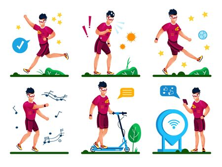 Outdoor Activities for Healthy Life Trendy Flat Vector Set. Young Man in Shorts Jogging in Park, Playing Ball, Listening Music and Dancing, Riding Scooter, Sharing Training Result Online Illustrations