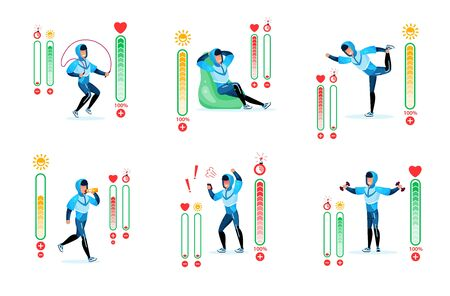 Fitness Training, Healthy Lifestyle Trendy Flat Vector Infographic Icons Set. Man in Tracksuit Doing Exercises, Drinking Water, Resting in Chair, Stamina, Time and Heartbeat Indicators Illustrations
