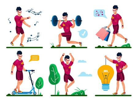 Young Man Daily Life Routine, Outdoor Activities Trendy Flat Vector Concepts Set. Active, Creative Guy Going Shopping, Listening Music and Dancing, Squatting with Barbell, Ridding Scooter Illustration