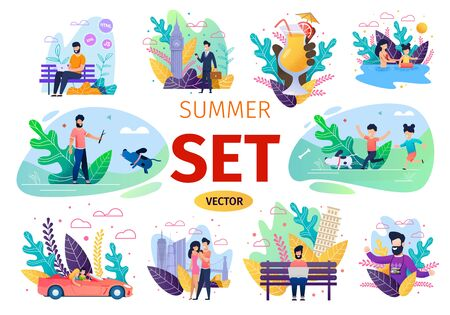 People Summer Time Activities Trendy Flat Isolated Concepts Set. Parents and Kids Playing with Dog, Swimming in Pool, Couple Traveling in Car, Walking Together, Freelancer Using Laptop Illustration Stock Vector - 136736276