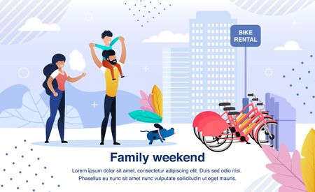 Active Family Happy Weekend Trendy Flat Vector Banner, Poster Template. Parents with Child, Father, Mother and Son Walking in City Park, Choosing Bicycles on Bike Rental Service Parking Illustration