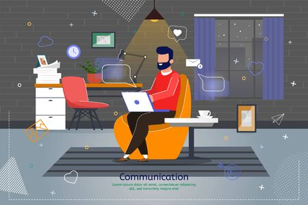 Online Communication and Distance Work Trendy Flat Vector Banner, Poster Template. Internet Entrepreneur, Web Developer, Male Freelancer Messaging in Social Network with Laptop in Office Illustration Vector Illustration