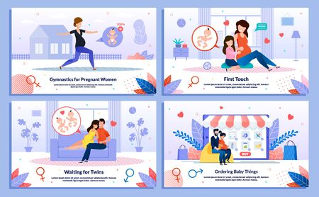 Family Life in Pregnancy, Gymnastics for Pregnant, Shopping for Baby Trendy Flat Vector Banner, Poster Set. Lady Doing Exercises, Talking with Daughter, Waiting Twins, Hugging Husband Illustration