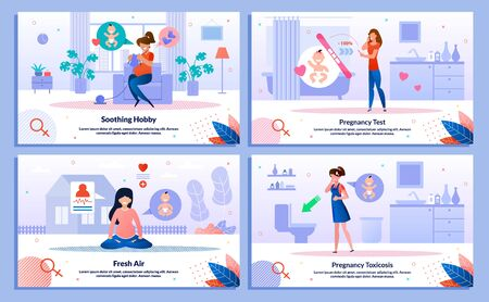 Pregnancy Test Positive Result, Pregnant Woman Hobby, Outdoor Activity, Morning Sickness Trendy Flat Vector Banner, Poster Set. Woman Feeling Nausea, Meditating, Looking on Test, Knitting Illustration
