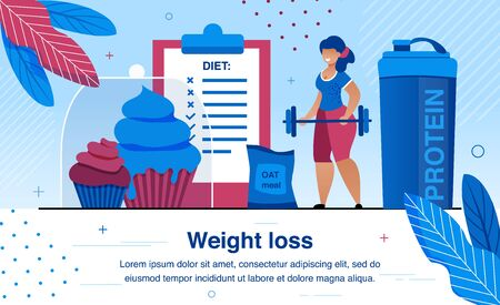Weight Loss Diet and Healthy Lifestyle Activities Trendy Flat Vector Banner, Poster Template. Obese Woman Doing Physical Exercises with Barbell, Eating Healthy Food and Sports Nutrition Illustration