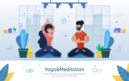 Yoga and Meditation Courses, Eastern Spiritual Practices Seminar Trendy Flat Vector Banner, Poster. Happy Man and Woman Sitting in Lotus Pose, Practicing Yoga and and Breathing Exercises Illustration