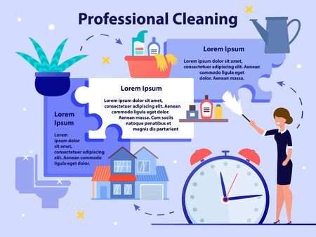 House Professional Cleaning Service Flat Vector Promo Banner, Poster Template. Maid, Female Employee Cleanup Dust with Duster, Washing Toilet and Bathroom with Detergents, Watering Plants Illustration