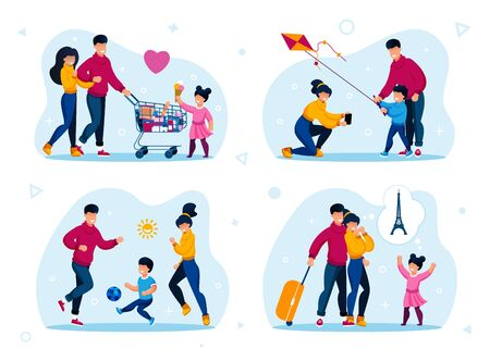 Happy Family Vacation Leisure Trendy Flat Vector Concepts Set. Parents with Preschooler Child Buying Groceries, Launching Kite, Playing Soccer Ball Outdoor, Planning Touristic Trip Illustrations Stock Vector - 137159922