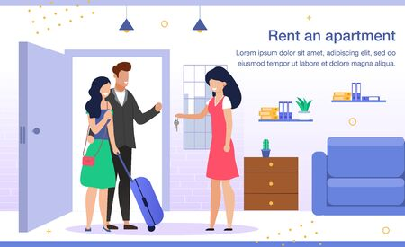 Comfortable Apartment for Rent Trendy Flat Vector Advertising Banner, Promo Poster Template. Female Realtor, Property Owner Giving Key to New Tenants, Welcoming Happy Couple with Baggage Illustration